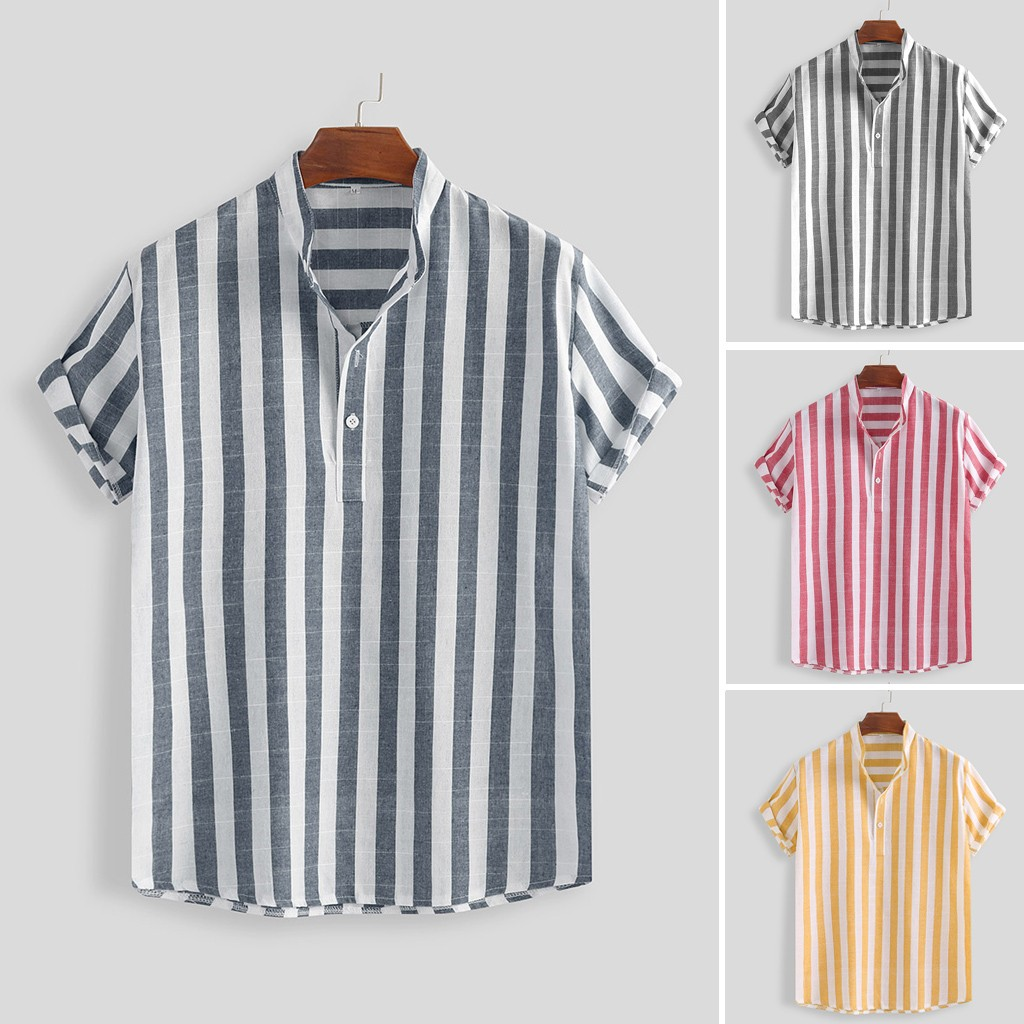 Mens Striped Cotton Linen Stand Collar Loose Short Sleeve Casual Buttons Shirt Men Shirt Men's Shorts Sleeve Slim Fit*3