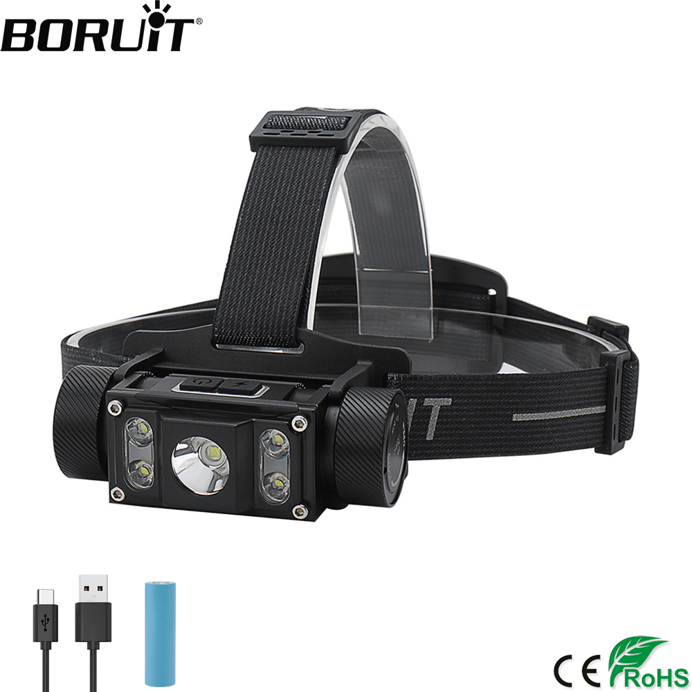 BORUiT B50 XM-L2 4 XP-G2 LED Headlamp Max 6000LM Waterproof Headlight TYPE-C Rechargeable 21700 Head Torch for Camping Hunting