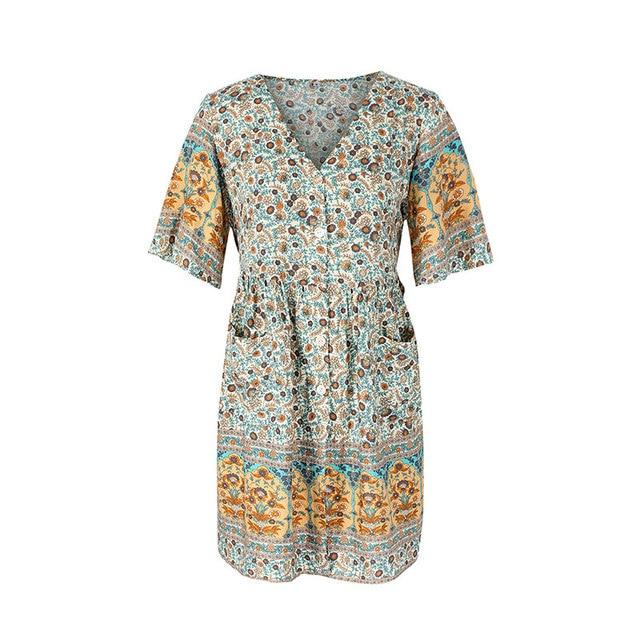 2021 Spring Print Short Dress Women Casual V Neck Bohemian Short Sleeve Dress For Woman Fashion Sexy Summer Dress 5