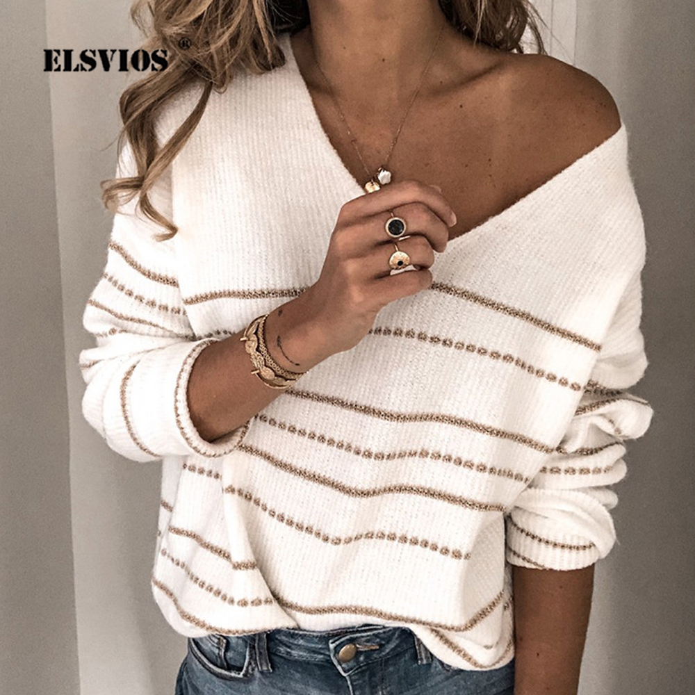 ELSVIOS Striped Print V-neck Knitted Sweater Women Plus Size Long Sleeve Tops Pullover Casual Autumn Winter Pull Sweaters Jumper