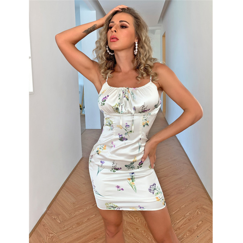 Tobinoone Floral Print Backless Sexy Women Dress 2021 Summer Spaghetti Strap Bodycon Short Dresses Feamle Lace Up Beach Dress 7