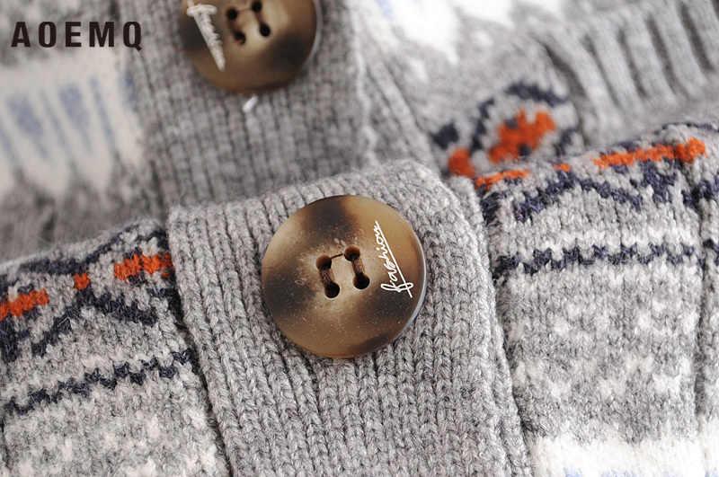 AOEMQ Mode Pullover Weihnachten Überraschung Präsentieren Winter Pullover Patchwork Muster Elch Druck Paar Erwachsene Frauen Kleidung