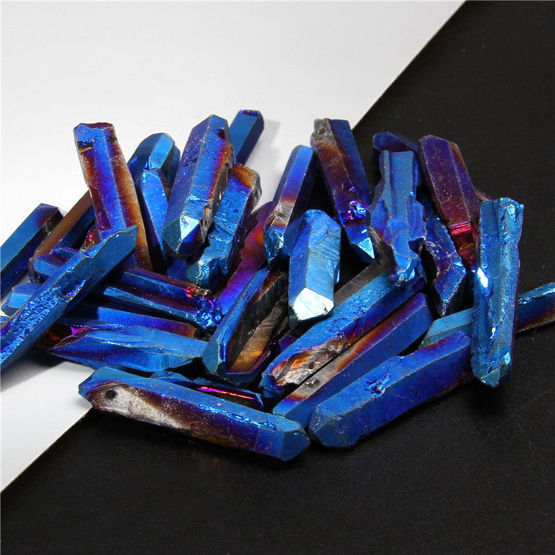 Top Drilled Blue Titanium AB Color Quartz Crystal Stick Beads Raw Crystals Gems Loose Spike Point Necklace Beads Jewelry Making(China)