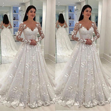 Boho Floral Lace Sexy V Neck Tulle Cheap White Wedding Dress Long Sleeve Beach Bridal Gown Bohemian Wedding Gown Robe De Mariage