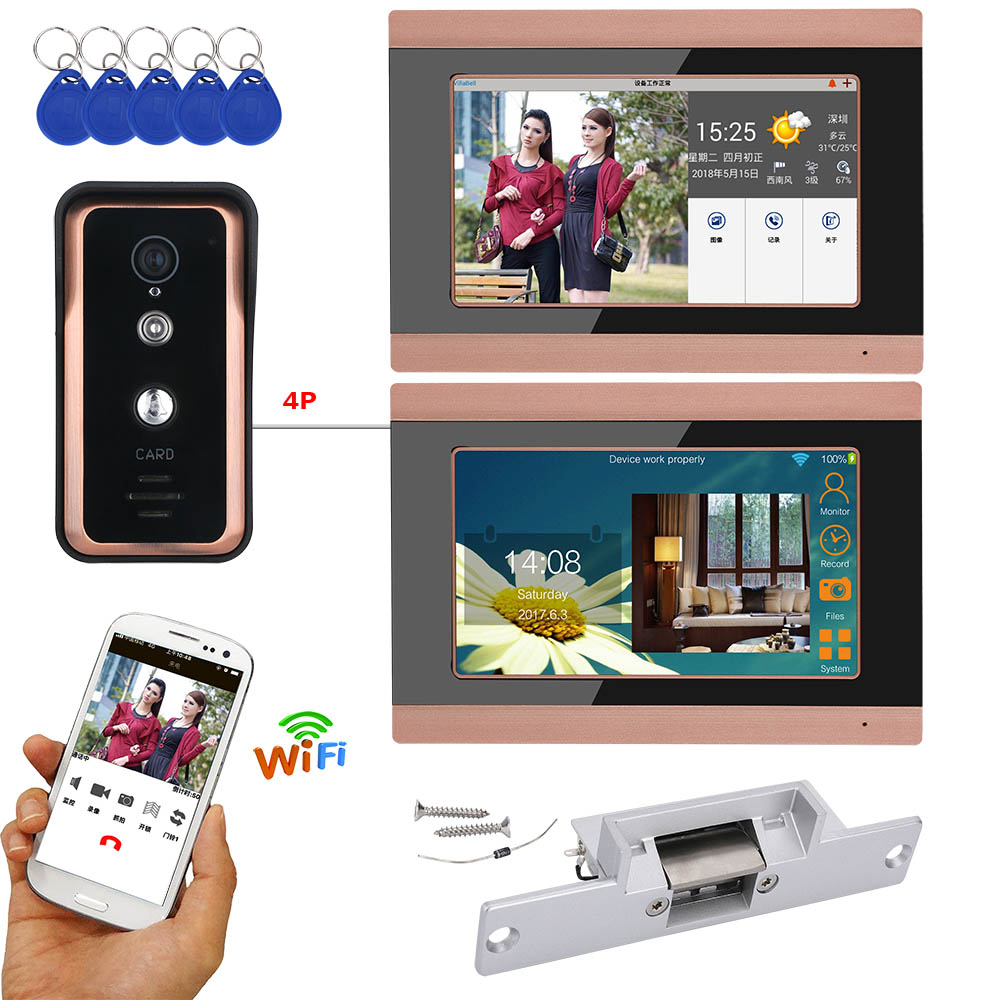 2 Monitors 7 Inch Wired / Wireless Wifi RFID Video Door Phone Doorbell Intercom System With Electric Strike Lock  AHD 720P