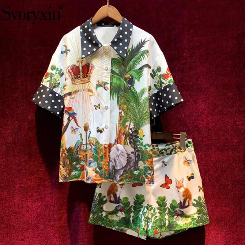 Svoryxiu 2020 Spring Summer Runway Fashion Crown Jungle Animal Print Shorts Two Piece Set Women's Casual Female Suits