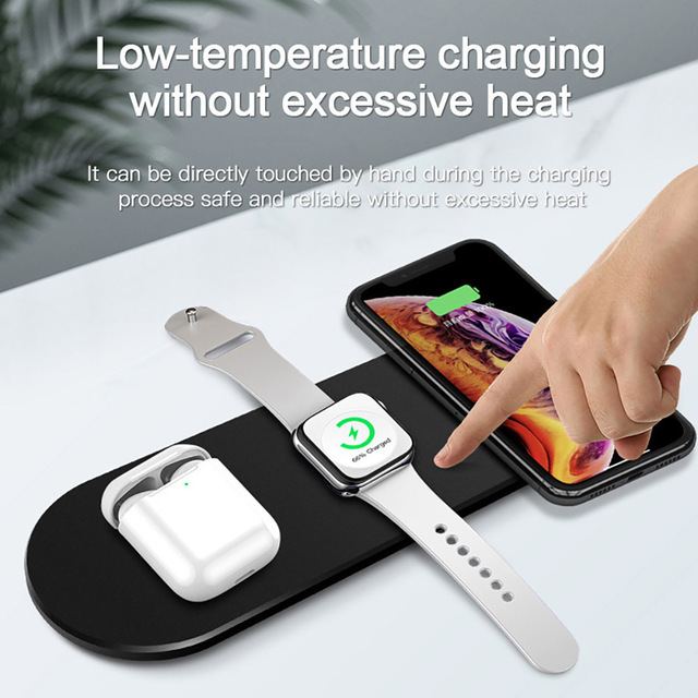 15W Fast Qi Wireless Charger Stand For iPhone 12 11 XS XR X 8 3 in 1 Charging Dock Station for Apple Watch 6 SE 5 4 Airpods Pro 6
