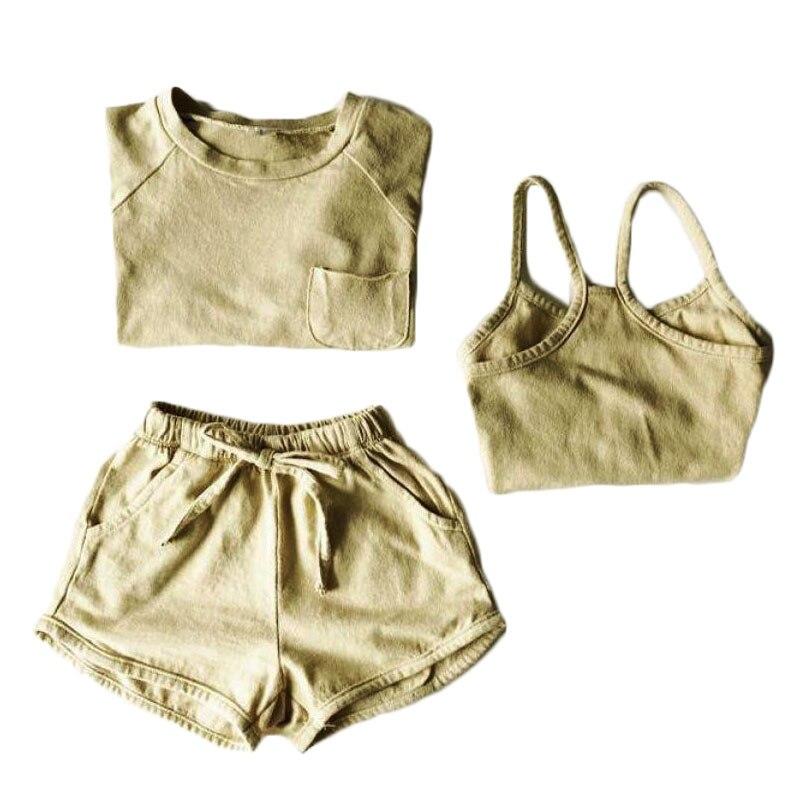 От 2 до 6 лет одежда для малышей хлопковый комплект одежды для маленьких мальчиков и девочек, футболка + жилет + шорты, комплект со штанами ком...