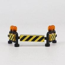 Kilitleme şehir modelleri kitleri tuğla Moc inşaat yol uyarı işareti oyuncak inşaat blokları çocuk hediyeler için Lockings şehirler