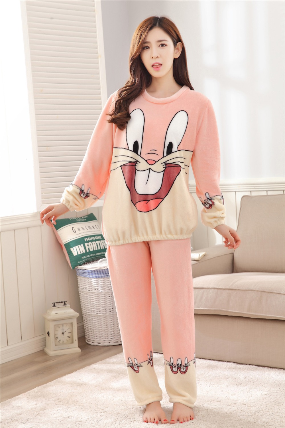 Women Pajamas Set For Autumn cute cartoon pink Women Clothes Sleepwear Nightgown For Women Long Sleeve And Pants Hot Sale pijama 55