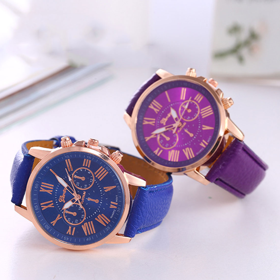 Women Bracelet Watch Korean Fashion Trend Geneva Ladies Fake Three-eye Casual Gold Men's Wrist Watches Couple Belt Table Quartz