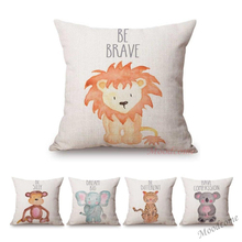 Cute Watercolor Animals Letter Print Kids Children Room Decoration Cushion Cover Pretty Lovely Cartoon Baby Animal Throw Pillow