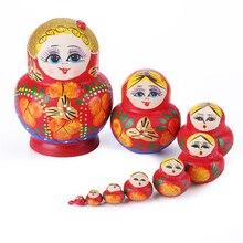1 Set Holz Russian Nesting Puppe Nette Mädchen Matryoshka Puppe für Baby Kinder Beste Wünschen Gefertigt Puppe Rosyjskie lalki zagnieżdżające