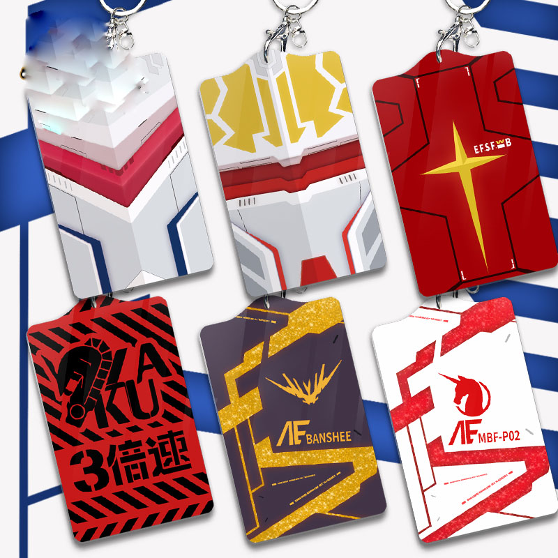 Anime MOBILE SUIT GUNDAM Cosplay Student Workers Bus Pass Business Card Holder Keychain Pendant Case Acrylic Cards Card Cover