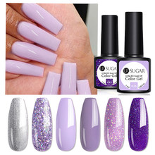 UR SUGAR Purple Gel Nail Polish Glitter Silver Color Gel Varnish for Manicures Nails Art Design Semi Permanent UV LED Nail Gel