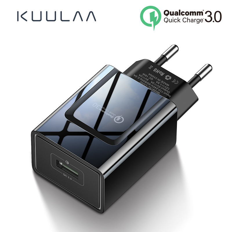 KUULAA Quick Charge 3.0 Mobile Phone <font><b>Charger</b></font> USB <font><b>Charger</b></font> EU Plug 18W QC 3.0 Fast <font><b>Charger</b></font> For Xiaomi Redmi 5 samsung galaxy s9 image