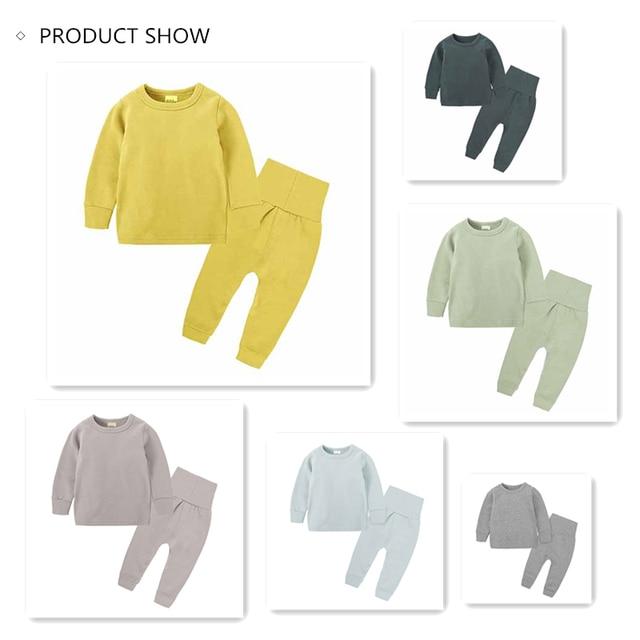 Autumn 2pcs. Children Clothes of Sleepwear Pure Color Cotton Children's Pajamas Set Children's Suit Baby Clothes Sets Body Suit 2
