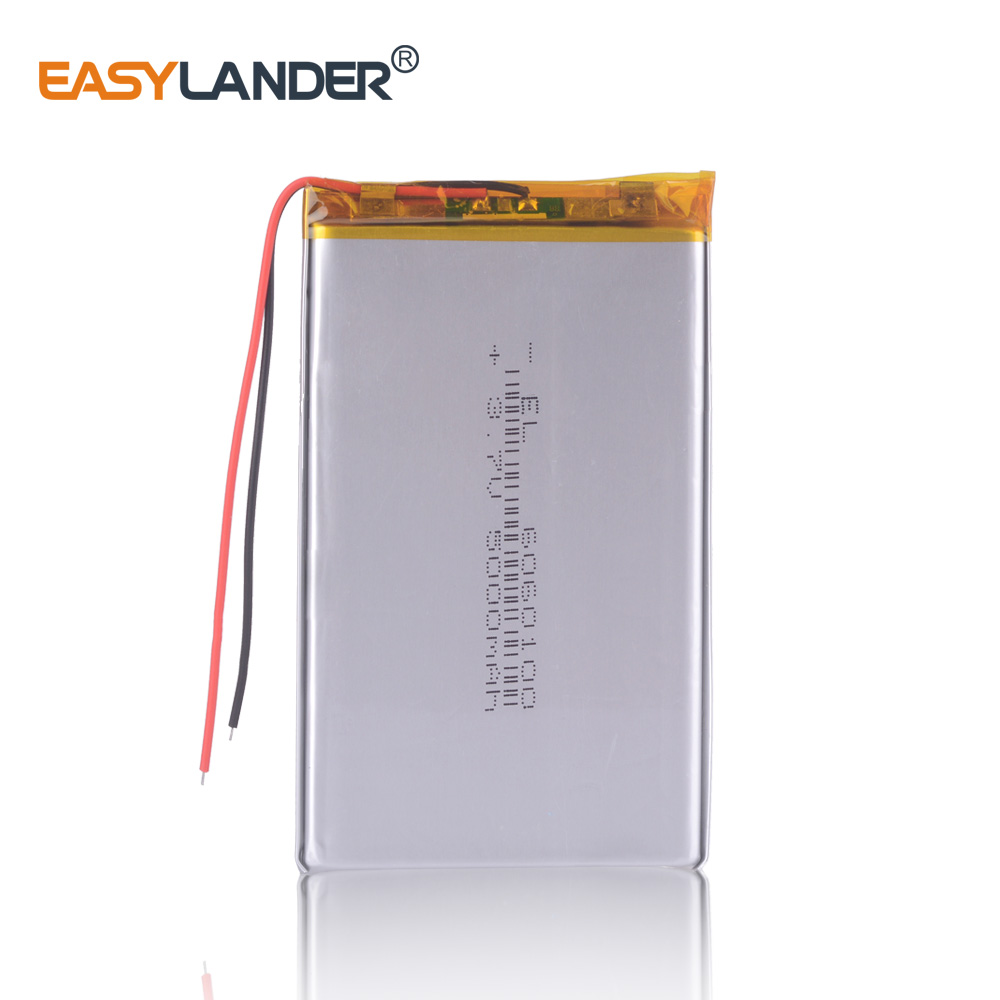 high capacity <font><b>6060100</b></font> 3.7V 5000mAh Rechargeable Li polymer Li ion battery For dvb power bank DVR PDF table pc image