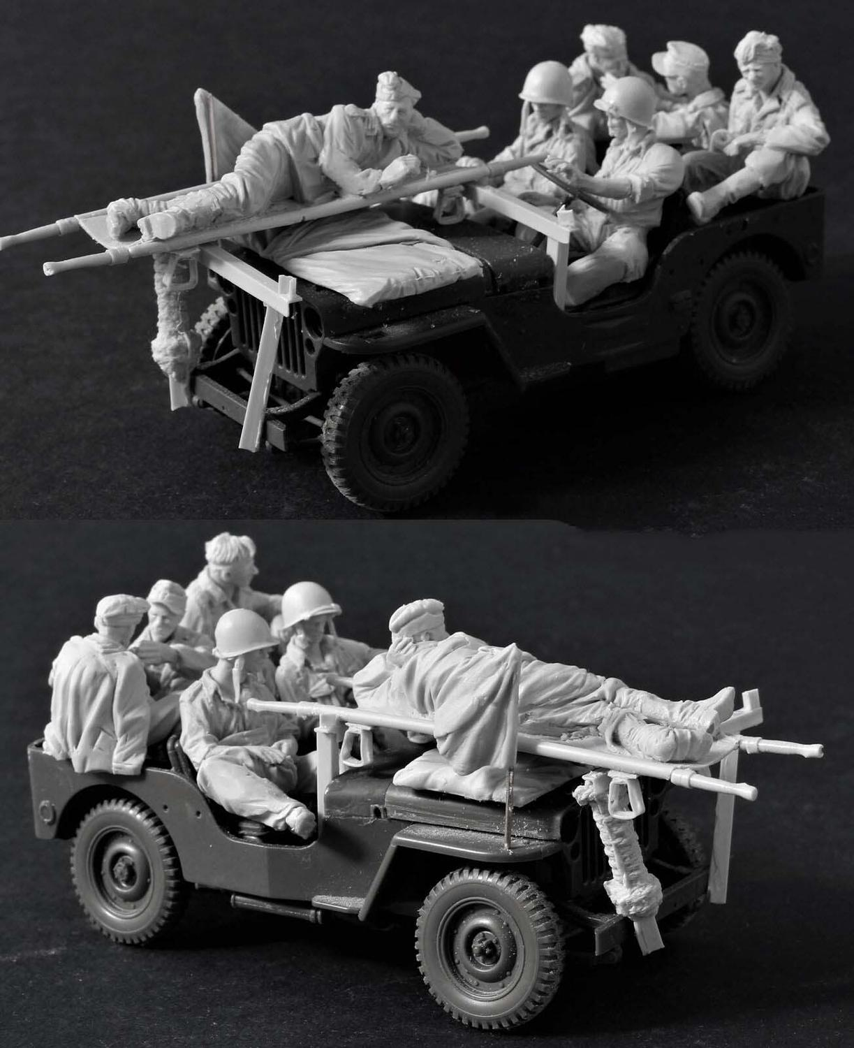 1/35 Ancient Crew (6 Figures & Accessories) (NO CAR )  Resin Figure Model Miniature Gk Unassembly Unpainted