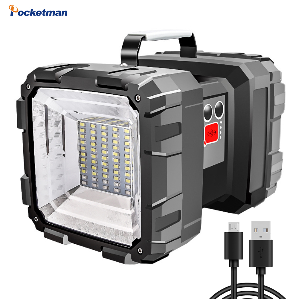 Super Bright L2 / P70 Double Head Flashlight Portable Outdoor Searchlight Emergency Light Work Light USB Rechargeable