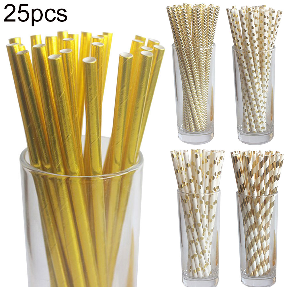 25pcs Heart Wave Star Snowflake Paper Straw Baby Shower Christmas Party Decor Tableware Serveware Home Garden