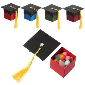 Image 5 - 10 Pcs Doctor Hoed Cap Bonbondoos Graduation Celebration Party Decoratie Snoep Gunst Dozen Gift Verpakking Papier Carrier