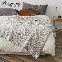 REGINA-mantas estampadas delicadas de punto de leopardo para invierno, colcha de microfibra Stich de piel sintética cálida a cuadros, manta mullida para adultos Wohnschmuck grau beige Braue manta sofa mantas de cama