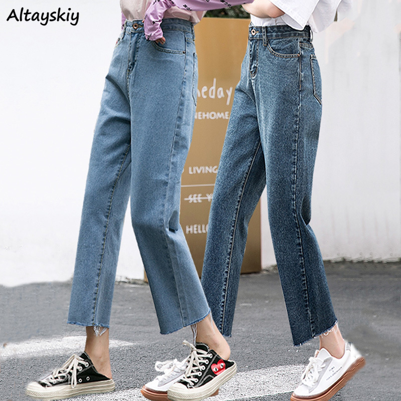 Jeans Women Denim Simple Loose Straight Students High Waist Ankle-length Trousers Womens All-match Solid Pockets Large Size Chic