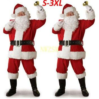 Рождественский костюм Санта Клауса, косплей, одежда Санта Клауса, нарядное платье на Рождество, мужской костюм 5 шт./лот, костюм для взрослых, популярный Праздничные костюмы      АлиЭкспресс
