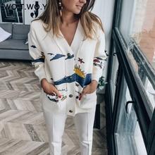 WOTWOY осеннее белое хлопковое вязаное Женское пальто с принтом, v-образным вырезом, поясом, карманами, OpenSwitch, женские джемперы, повседневные пуговицы, женские топы