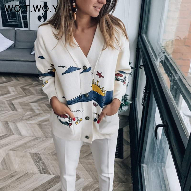 WOTWOY Autumn White Cotton Knitted Women Coat 2020 Print V-neck Belt Pockets OpenSwitch Female Jumpers Casaul Buttons Women Tops