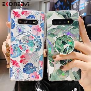 Ekoneda Telefoon Houder Case Voor Samsung Galaxy A50 A51 A70 A71 A10 S20 Ultra S8 S9 S10 Note 9 10 plus Laser Blad Bloemen Tpu Case