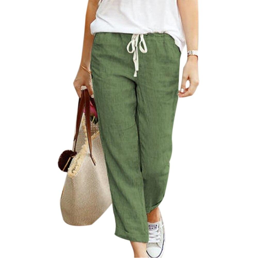 MoneRffi 2020 Spring Women Harem Pants Causal Trousers Loose Cotton Linen Pants Female Soft Pants Ankle Length Pants Plus Size