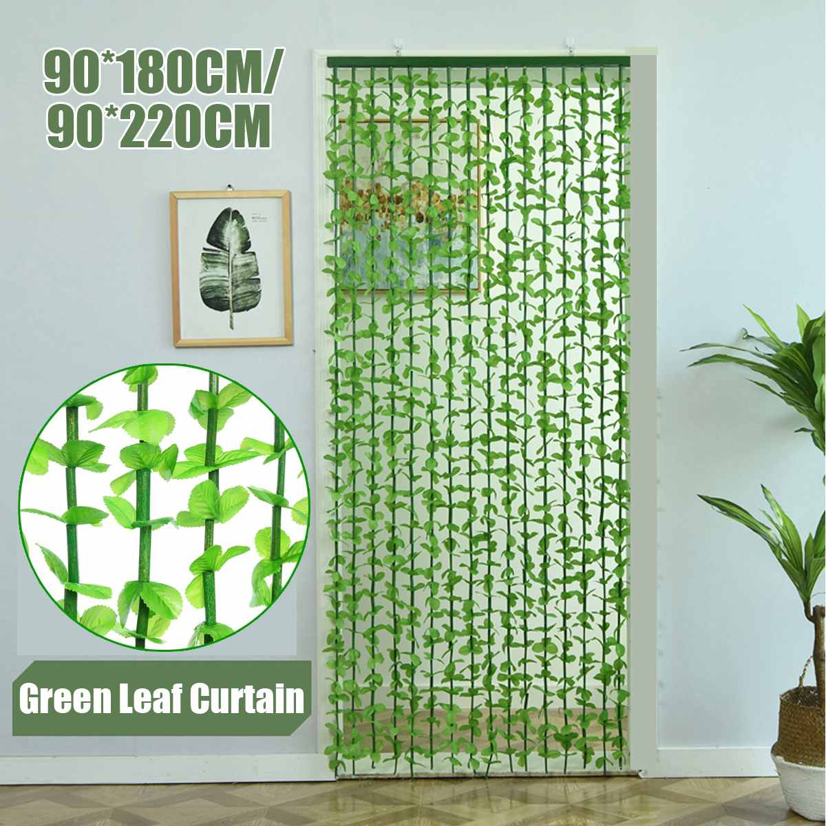 1Pc String Door Curtain 180/220CM 16 Wave Fly Screen Leaf Leaves Hanging Door Curtain 16 Lines For Home Porch Living Room Decor