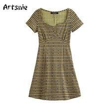 Artsnie vintage plaid short A line dress women summer 2020 high waist square collar casual mini dresses vestidos robe femme