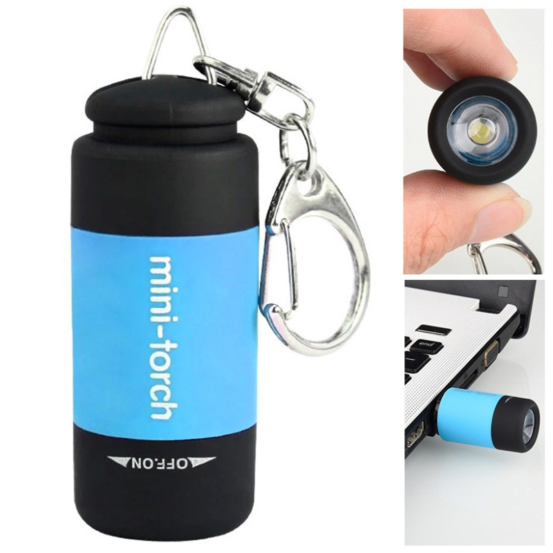 Tiny Pocket Torch LED Light USB Charge Portable Key Ring Flashlight Lamp Torch Rechargeable Keychain Decorative Torch
