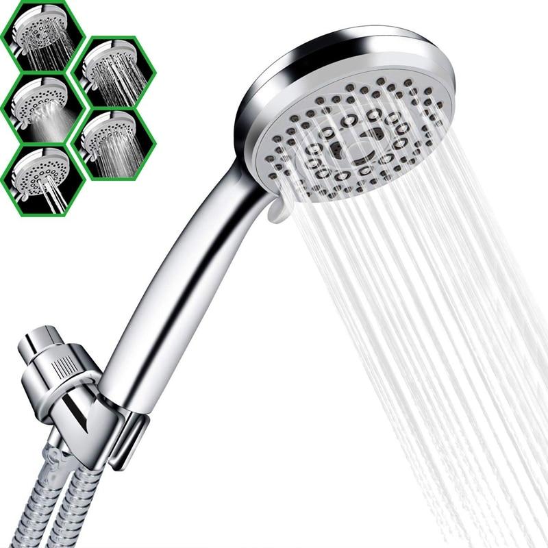 Handheld Shower Head With Hose 5 Spray Settings High Pressure Shower Head Massage Spa Detachable Hand Held Shower Head