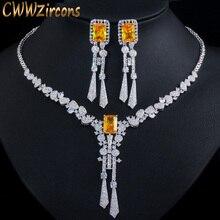 CWWZircons יוקרה צהוב CZ אבן להתנדנד Drop ארוך ציצית חתונה עגילי שרשרת גדול דובאי תכשיטי סטי T375