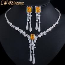 CWWZircons Luxury Yellow CZ Stone Dangle Drop Long Tassel Wedding Earrings Necklace Big Dubai Bridal Dress Jewelry Sets T375