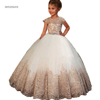 Sheer Cap Sleeves Lace Tulle Ball Gowns Flower Girls Dresses For Wedding Party Kids Children Little Bride Dress Primera Comunion - DISCOUNT ITEM  15% OFF All Category