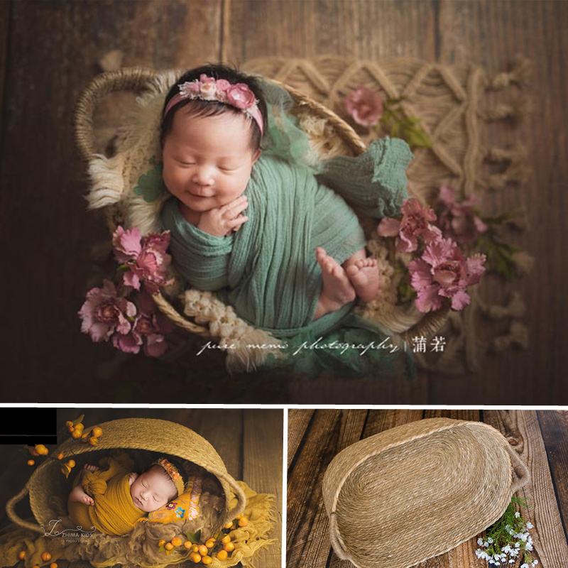 Newborn Photography Accessories Girl Large Size Hand-Woven Basket Newborn Baby Posing Sofa Photo Studio Props Shooting Assistant
