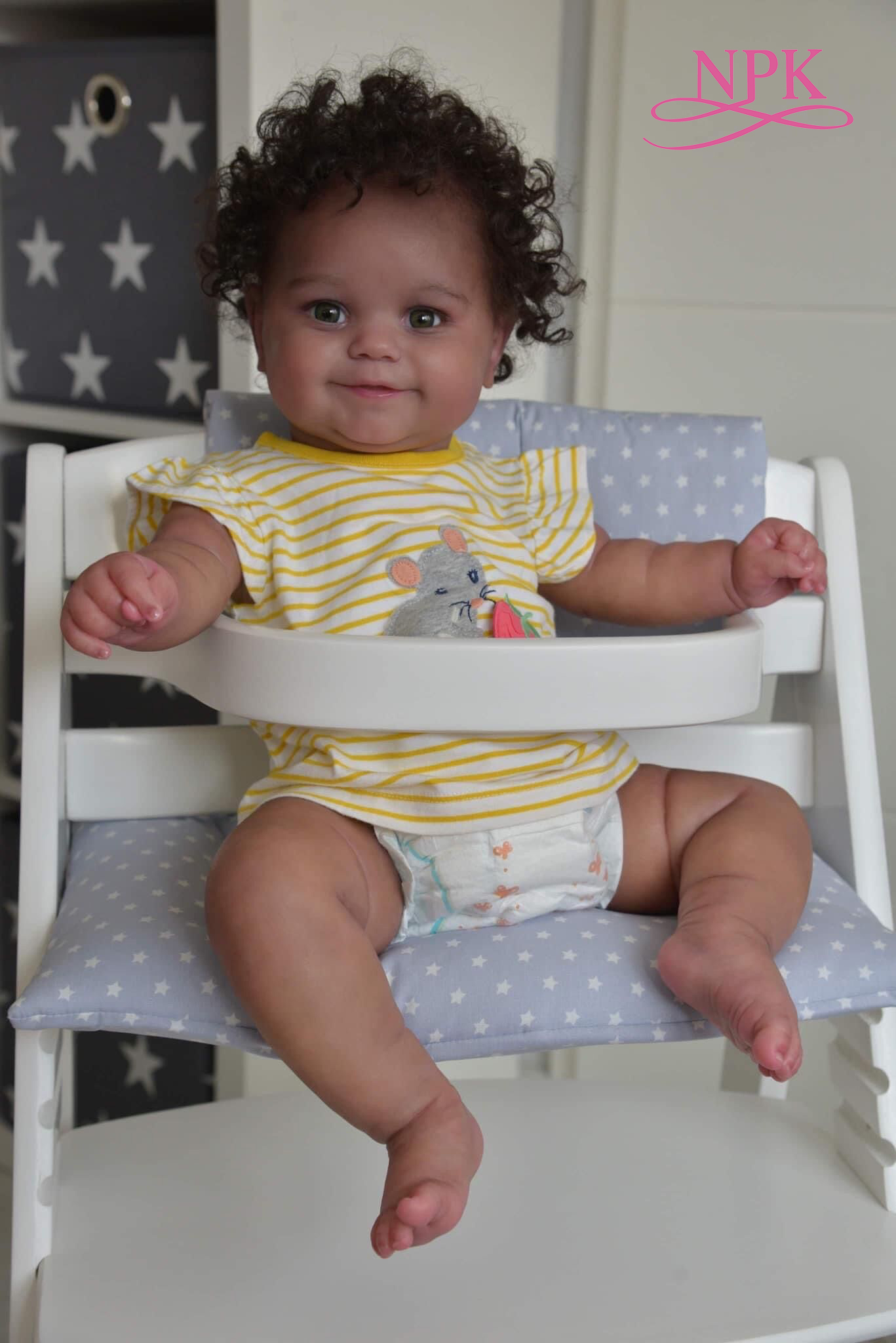 NPK 50CM Flexible Bebe Puppe Reborn Baby Mädchen Maddie Schwarz Haut African American Baby Handrooted Haar mit Flasche und schnuller