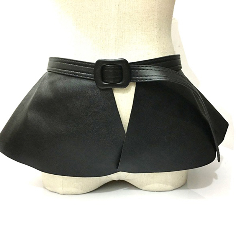 Women Cummerbunds New Causal Leather Skirt Ruffle Wide Belts Women Decorated Personality Cummerbunds Femme Clothing Accessories