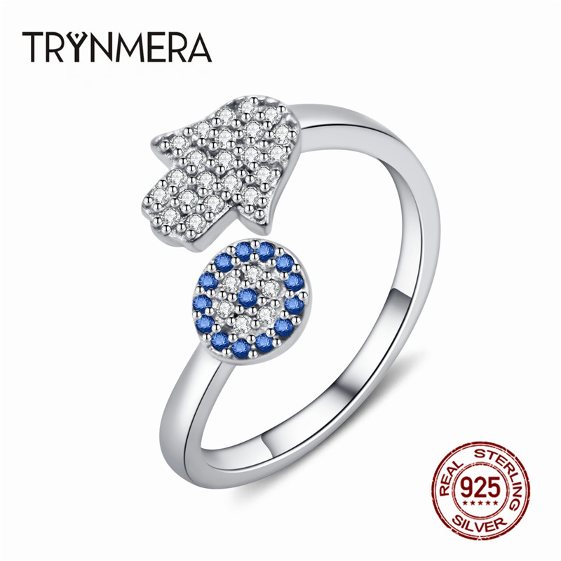 925 Sterling Silver Evil Eye Blue Eye AND Hamsa Hand Fatima Hand Adjustable Female Rings Open Size Ring Wedding Jewelry