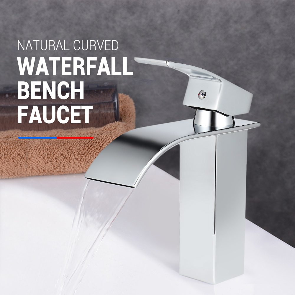 Natural Curved Waterfall Bench Basin Faucet Single Handle Basin Mixer Tap Bath Antique Faucet Hot Cold Water Bathroom Faucets