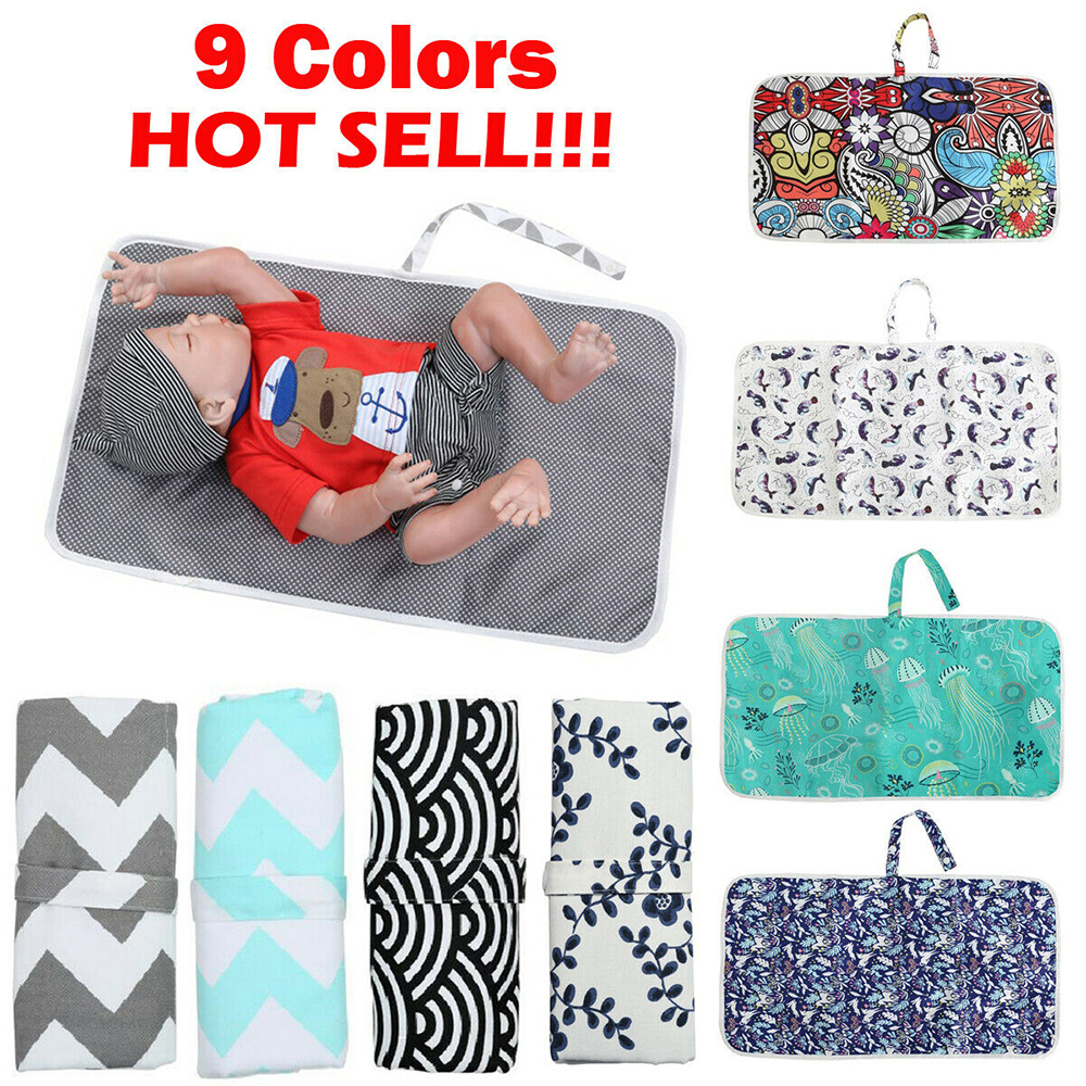 Travel Diaper Baby Changed Mat Waterproof Floor Mat Baby Nappy Portable Foldable Washable Compact  For Newborn Baby Care