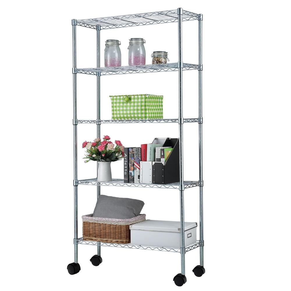 "5 Layer Chrome Plated Iron Shelf Storage Rack with 1.5"" Nylon Wheels 165x90x35CM[US Stock]"