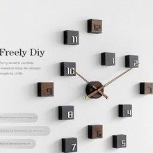 Horloge murale créative nordique en bois pour salon, autocollant mural auto-adhésif silencieux, décoration murale, cadeau de fond pour montre