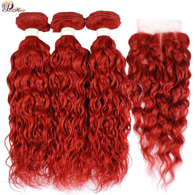 Brazilian Human Hair Weave Bundles With Closure Red Water Wave Bundles With Closure Pinshair Non-remy Hair Pre Plucked Hairline