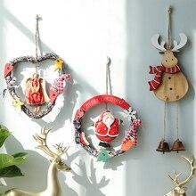 2019 Christmas Decoration Wreath Door Hanging Nordic Bell Reindeer Pendant Santa Snowman Ornament